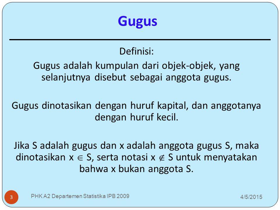 Gugus 4/5/2015 PHK A2 Departemen Statistika IPB 2009 3 Definisi: Gugus adalah kumpulan dari objek-objek, yang selanjutnya disebut sebagai anggota gugu