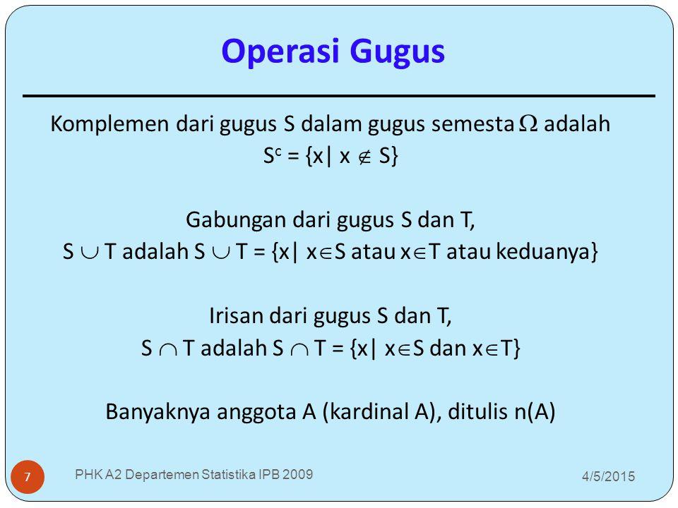 4/5/2015 PHK A2 Departemen Statistika IPB 2009 7 Komplemen dari gugus S dalam gugus semesta  adalah S c = {x| x  S} Gabungan dari gugus S dan T, S 
