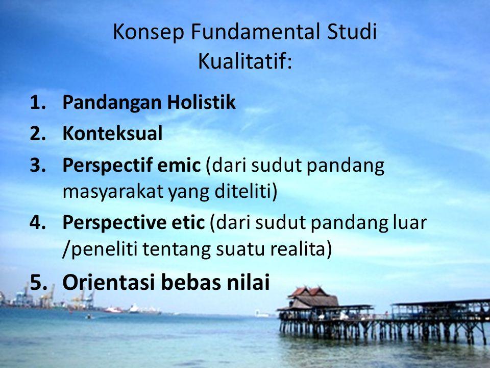 Konsep Fundamental Studi Kualitatif: 1.Pandangan Holistik 2.Konteksual 3.Perspectif emic (dari sudut pandang masyarakat yang diteliti) 4.Perspective e