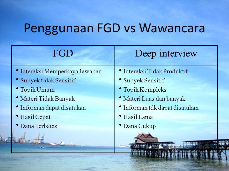Penggunaan FGD vs Wawancara FGDDeep interview  Interaksi Memperkaya Jawaban  Subyek tidak Sensitif  Topik Umum  Materi Tidak Banyak  Informan dap