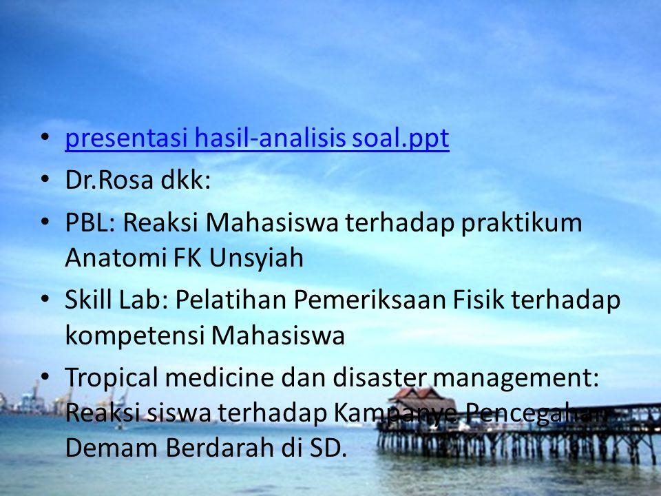 presentasi hasil-analisis soal.ppt Dr.Rosa dkk: PBL: Reaksi Mahasiswa terhadap praktikum Anatomi FK Unsyiah Skill Lab: Pelatihan Pemeriksaan Fisik ter