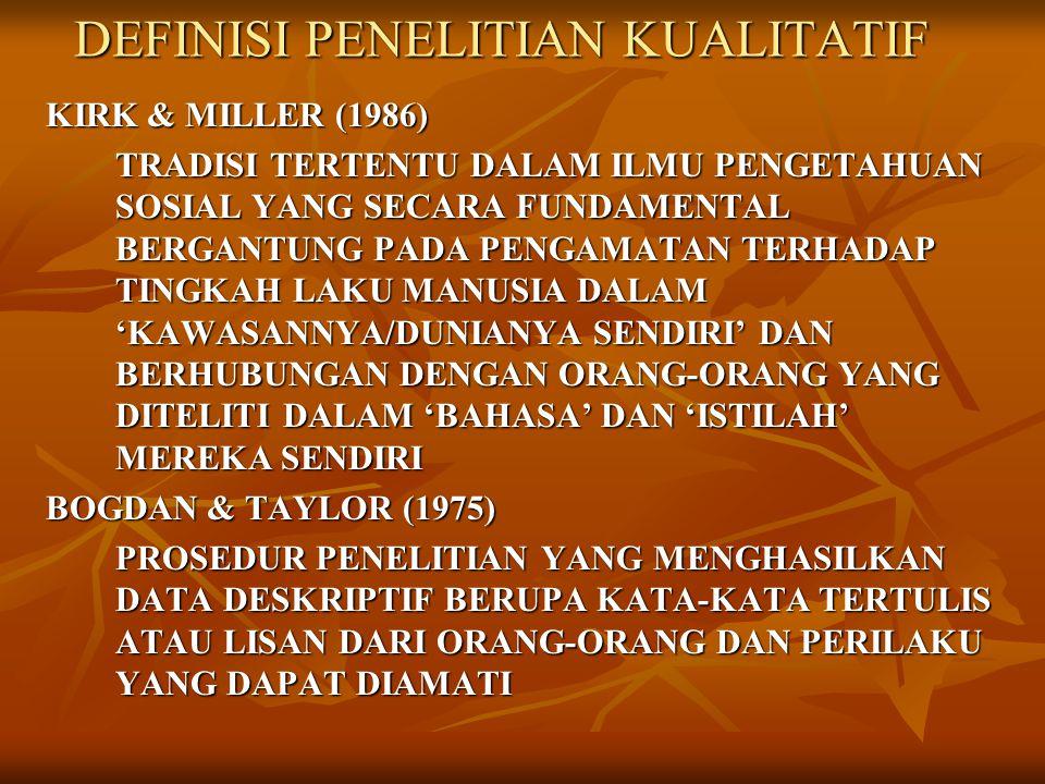 DEFINISI PENELITIAN KUALITATIF KIRK & MILLER (1986) TRADISI TERTENTU DALAM ILMU PENGETAHUAN SOSIAL YANG SECARA FUNDAMENTAL BERGANTUNG PADA PENGAMATAN