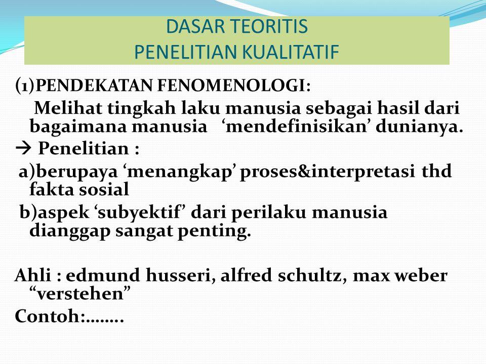 DASAR TEORITIS PENELITIAN KUALITATIF ( 1)PENDEKATAN FENOMENOLOGI: Melihat tingkah laku manusia sebagai hasil dari bagaimana manusia 'mendefinisikan' d
