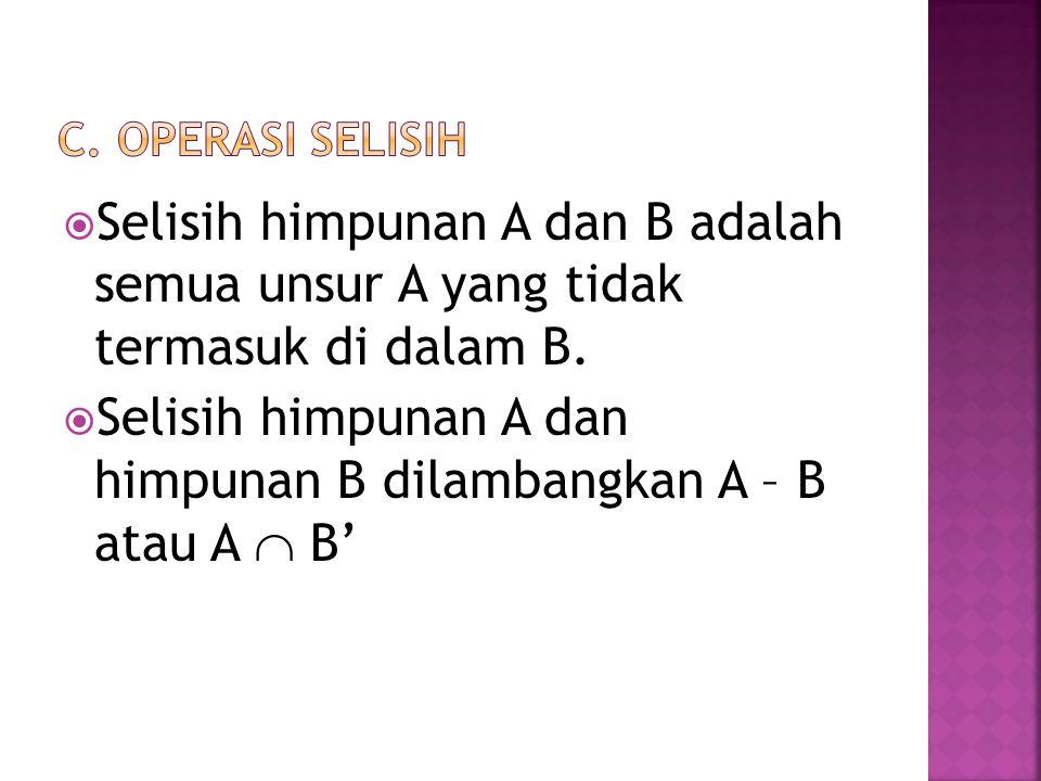  Selisih himpunan A dan B adalah semua unsur A yang tidak termasuk di dalam B.  Selisih himpunan A dan himpunan B dilambangkan A – B atau A  B'