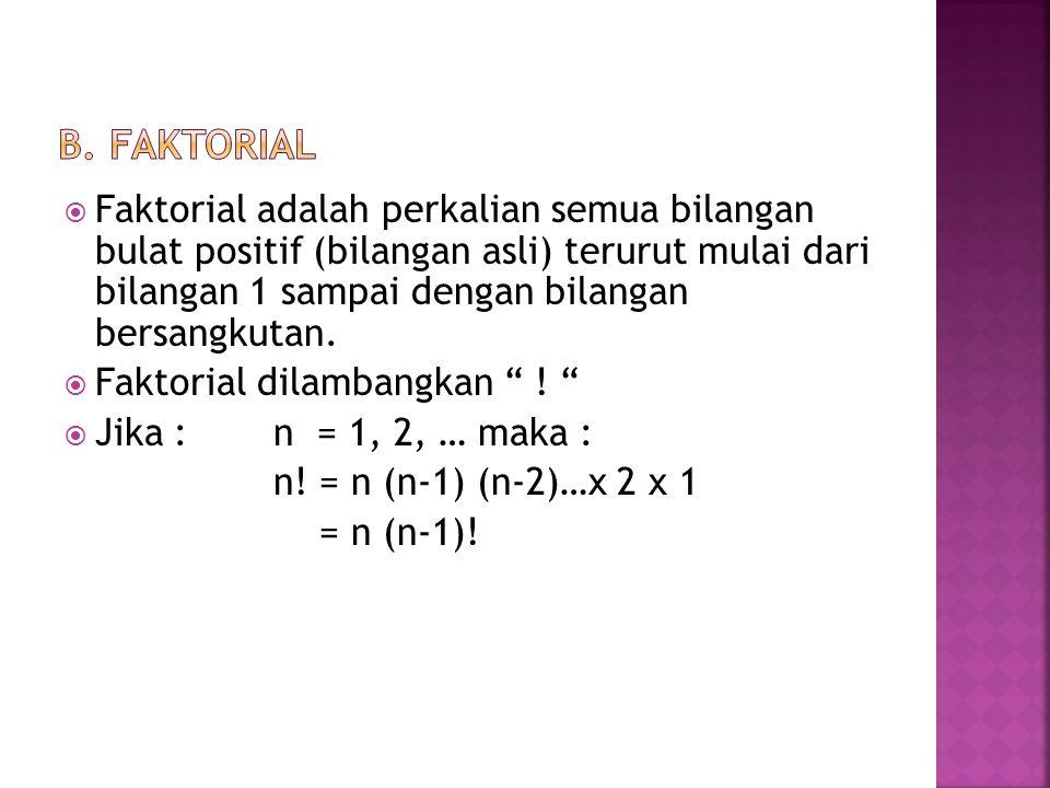  Faktorial adalah perkalian semua bilangan bulat positif (bilangan asli) terurut mulai dari bilangan 1 sampai dengan bilangan bersangkutan.  Faktori