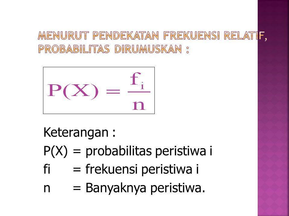 Keterangan : P(X)= probabilitas peristiwa i fi= frekuensi peristiwa i n= Banyaknya peristiwa.