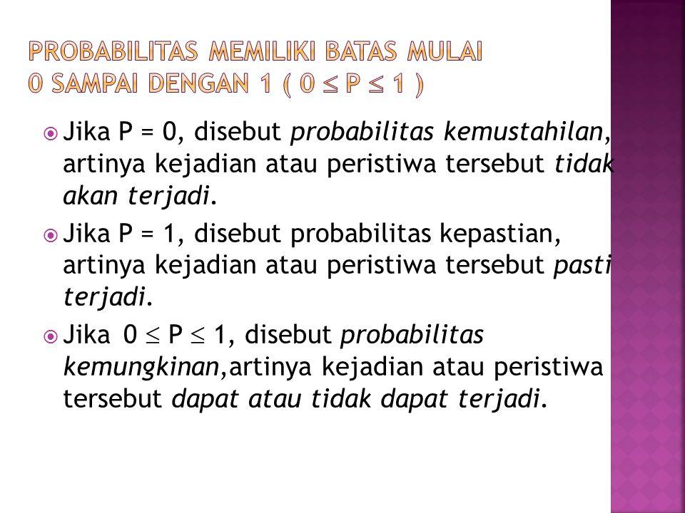  Jika P = 0, disebut probabilitas kemustahilan, artinya kejadian atau peristiwa tersebut tidak akan terjadi.  Jika P = 1, disebut probabilitas kepas