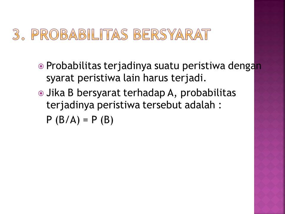  Probabilitas terjadinya suatu peristiwa dengan syarat peristiwa lain harus terjadi.  Jika B bersyarat terhadap A, probabilitas terjadinya peristiwa