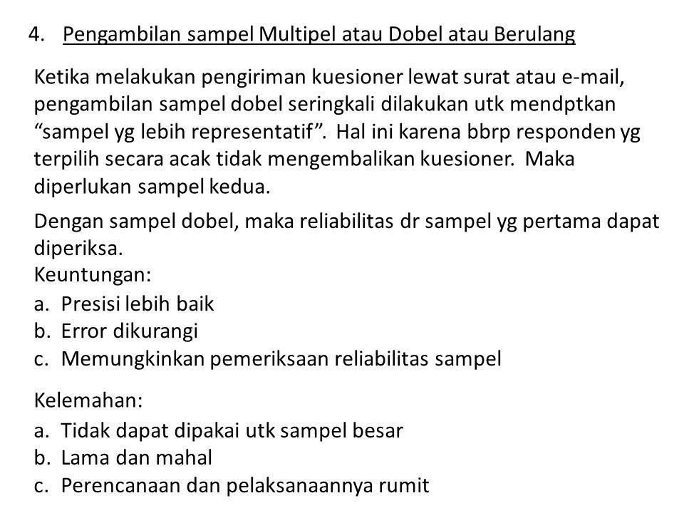 4.Pengambilan sampel Multipel atau Dobel atau Berulang Ketika melakukan pengiriman kuesioner lewat surat atau e-mail, pengambilan sampel dobel seringkali dilakukan utk mendptkan sampel yg lebih representatif .