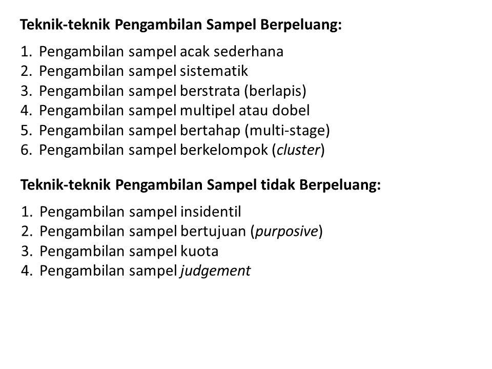 Teknik-teknik Pengambilan Sampel Berpeluang: 1.Pengambilan sampel acak sederhana 2.Pengambilan sampel sistematik 3.Pengambilan sampel berstrata (berlapis) 4.Pengambilan sampel multipel atau dobel 5.Pengambilan sampel bertahap (multi-stage) 6.Pengambilan sampel berkelompok (cluster) Teknik-teknik Pengambilan Sampel tidak Berpeluang: 1.Pengambilan sampel insidentil 2.Pengambilan sampel bertujuan (purposive) 3.Pengambilan sampel kuota 4.Pengambilan sampel judgement