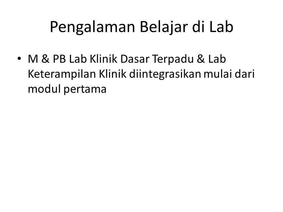 Pengalaman Belajar di Lab M & PB Lab Klinik Dasar Terpadu & Lab Keterampilan Klinik diintegrasikan mulai dari modul pertama