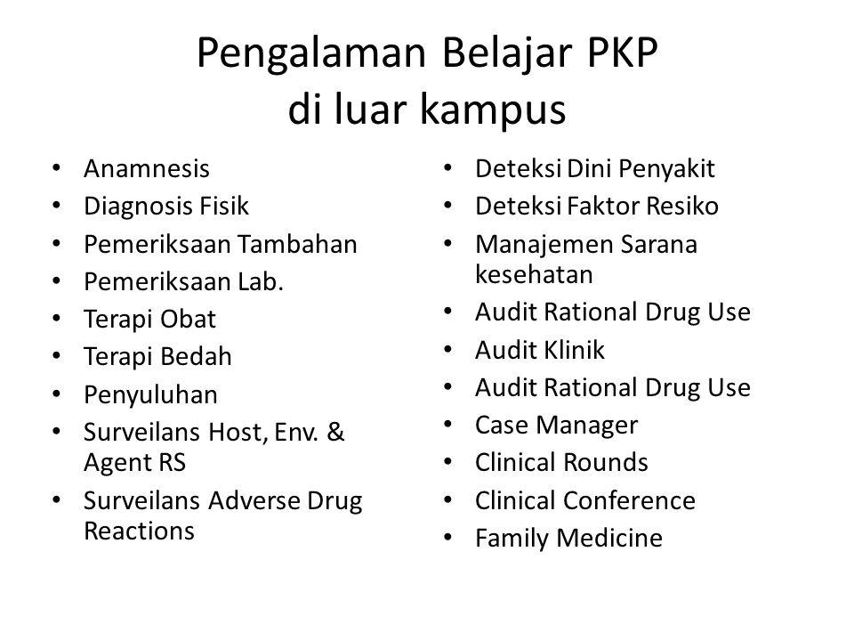 Pengalaman Belajar PKP di luar kampus Anamnesis Diagnosis Fisik Pemeriksaan Tambahan Pemeriksaan Lab. Terapi Obat Terapi Bedah Penyuluhan Surveilans H