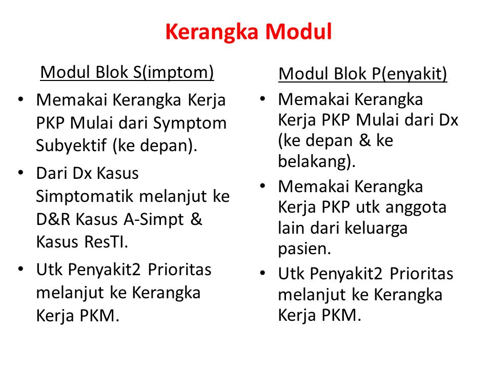 Kerangka Kerja PKP Primer Simptom Subyektif (Keluhan) Simptom Obyektif (Tanda) DDxDx Prev I & II Ex & Rx Ex, Rx pendahuluan & Merujuk Ex & Merujuk Blok S Blok P