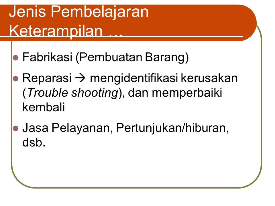 Jenis Pembelajaran Keterampilan … Fabrikasi (Pembuatan Barang) Reparasi  mengidentifikasi kerusakan (Trouble shooting), dan memperbaiki kembali Jasa