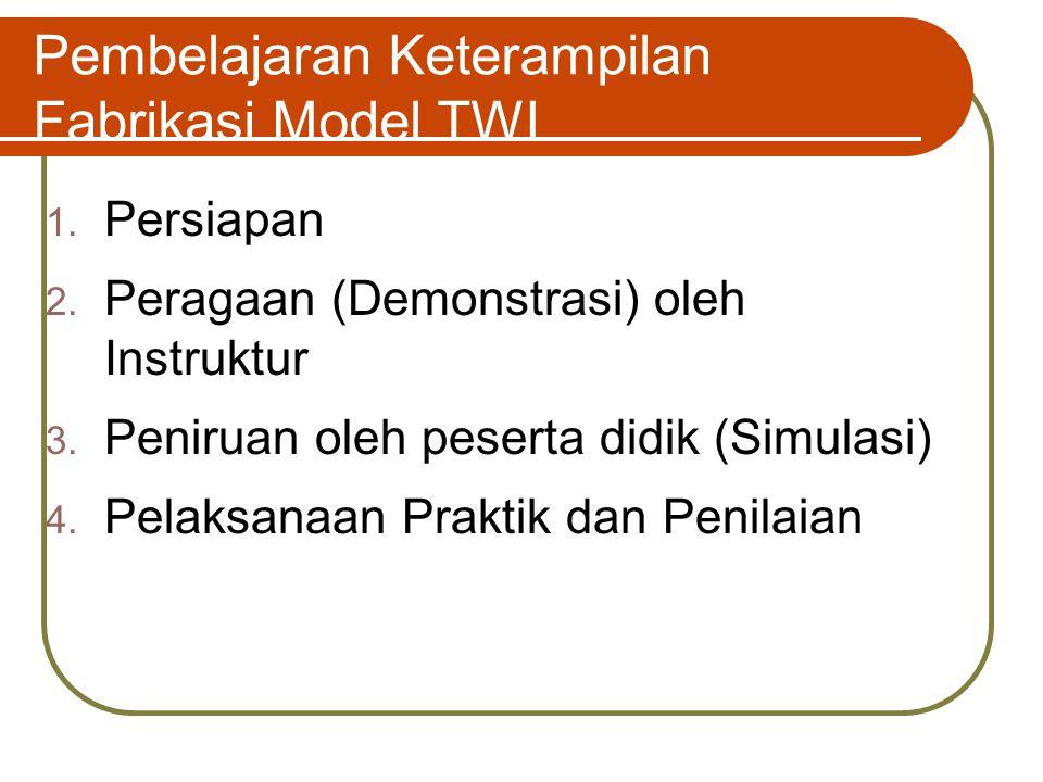 Pembelajaran Keterampilan Fabrikasi Model TWI 1. Persiapan 2. Peragaan (Demonstrasi) oleh Instruktur 3. Peniruan oleh peserta didik (Simulasi) 4. Pela