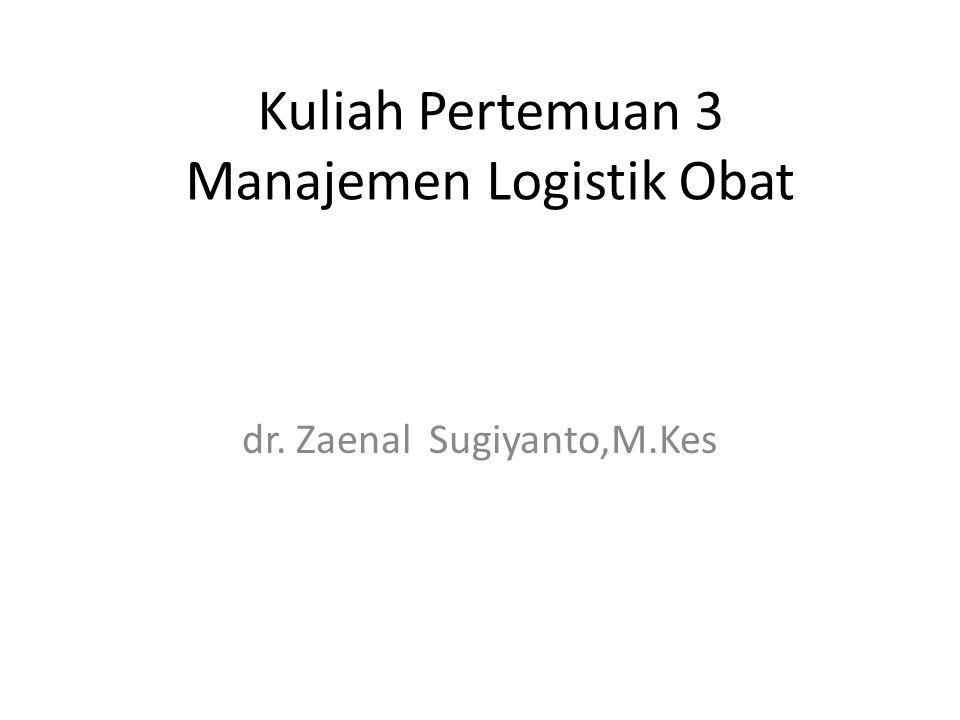 Kuliah Pertemuan 3 Manajemen Logistik Obat dr. Zaenal Sugiyanto,M.Kes