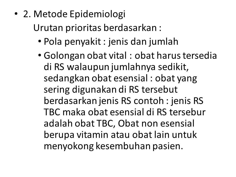 2. Metode Epidemiologi Urutan prioritas berdasarkan : Pola penyakit : jenis dan jumlah Golongan obat vital : obat harus tersedia di RS walaupun jumlah