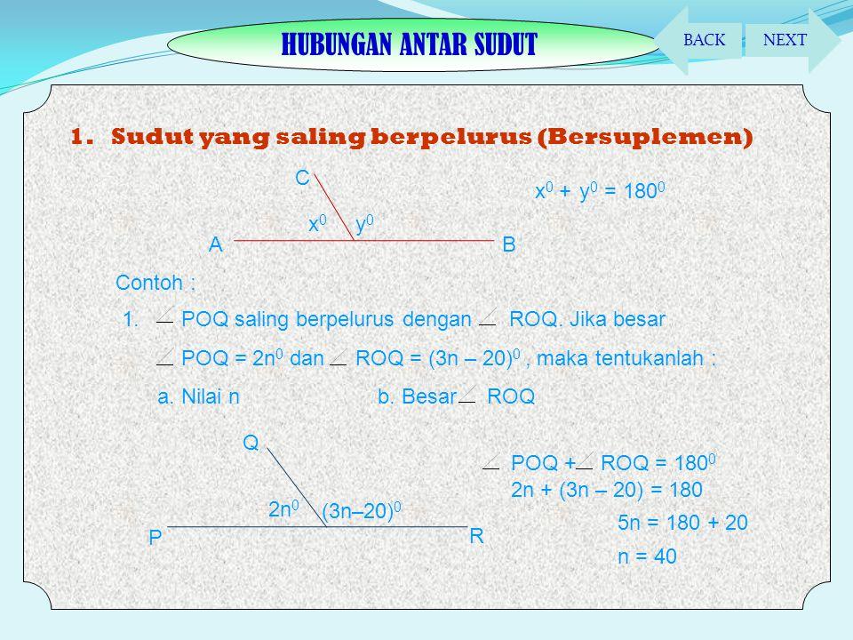  Sudut Lancip (<90 0 )  Sudut Siku-siku (=90 0 )  Sudut Tumpul (90 0 < x < 180 0 )  Sudut Lurus (= 180 0 )  Sudut refleksi (180 0 < x < 360 0 ) B