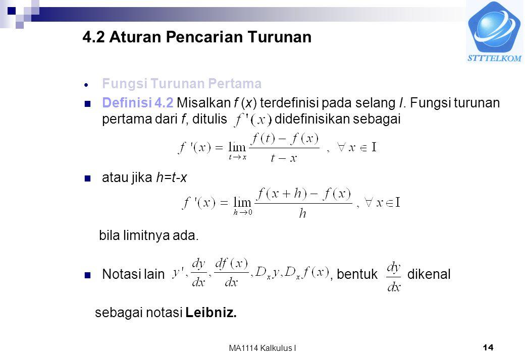 MA1114 Kalkulus I14 4.2 Aturan Pencarian Turunan  Fungsi Turunan Pertama Definisi 4.2 Misalkan f (x) terdefinisi pada selang I. Fungsi turunan pertam