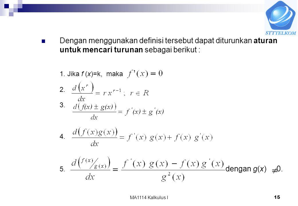 MA1114 Kalkulus I15 Dengan menggunakan definisi tersebut dapat diturunkan aturan untuk mencari turunan sebagai berikut : 1. Jika f (x)=k, maka 2. 3. 4