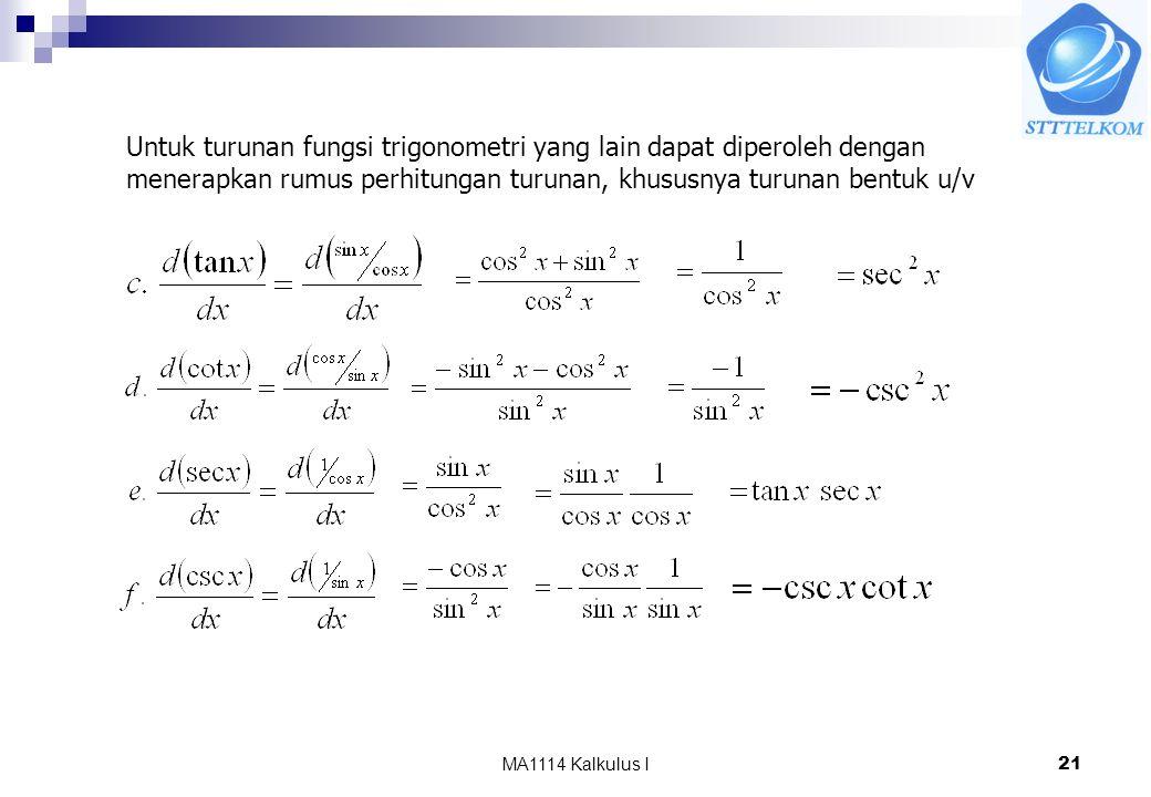 MA1114 Kalkulus I21 Untuk turunan fungsi trigonometri yang lain dapat diperoleh dengan menerapkan rumus perhitungan turunan, khususnya turunan bentuk u/v