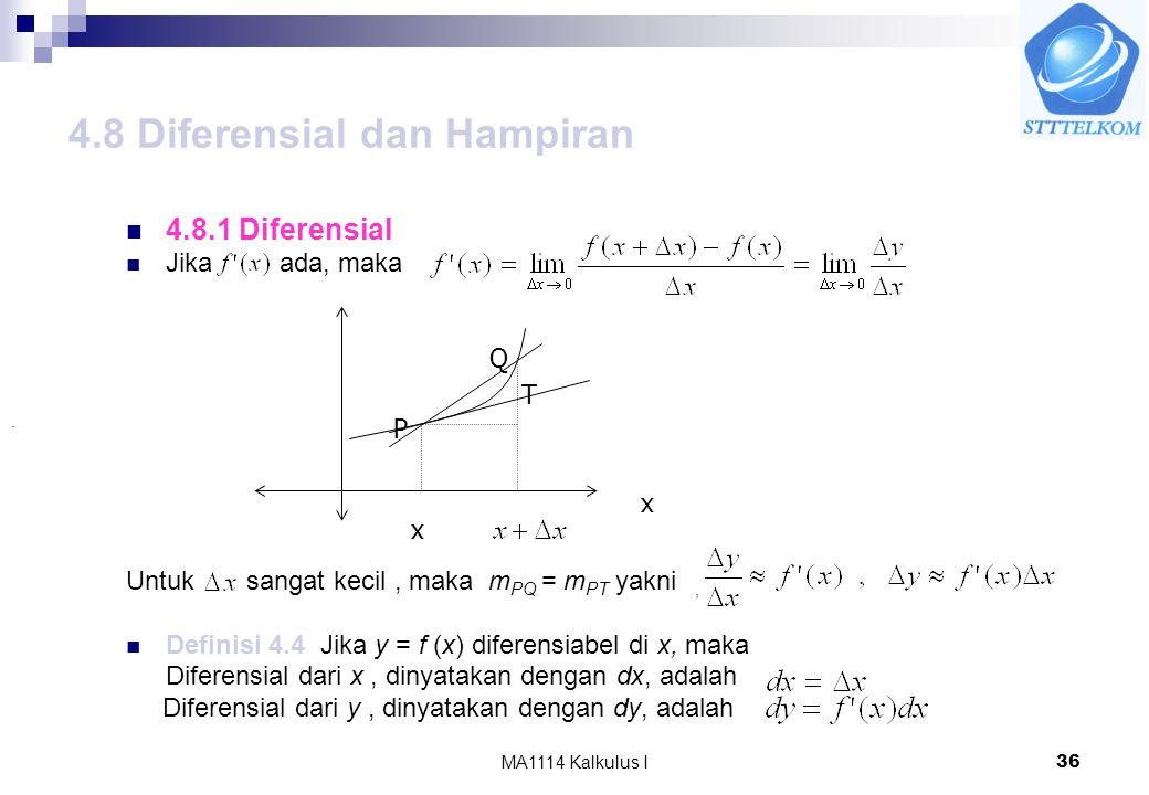 MA1114 Kalkulus I36 4.8 Diferensial dan Hampiran 4.8.1 Diferensial Jika ada, maka Untuk sangat kecil, maka m PQ = m PT yakni, Definisi 4.4 Jika y = f (x) diferensiabel di x, maka Diferensial dari x, dinyatakan dengan dx, adalah Diferensial dari y, dinyatakan dengan dy, adalah P Q x x.