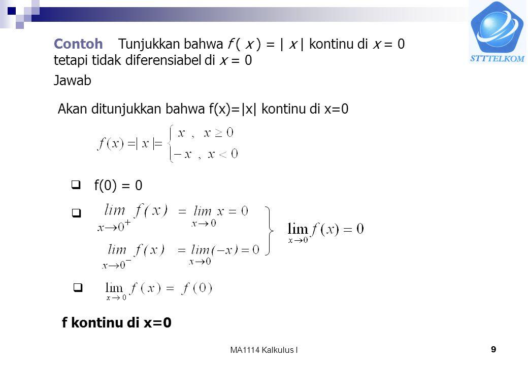 MA1114 Kalkulus I9 Contoh Tunjukkan bahwa f ( x ) = | x | kontinu di x = 0 tetapi tidak diferensiabel di x = 0 Jawab Akan ditunjukkan bahwa f(x)=|x| kontinu di x=0 f(0) = 0    f kontinu di x=0