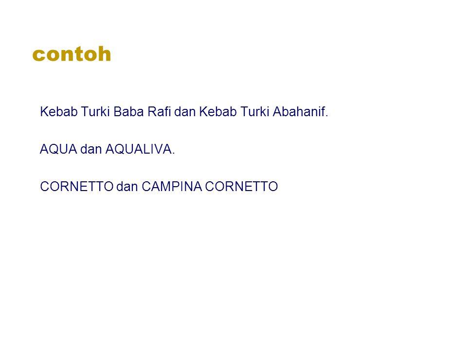 contoh Kebab Turki Baba Rafi dan Kebab Turki Abahanif. AQUA dan AQUALIVA. CORNETTO dan CAMPINA CORNETTO