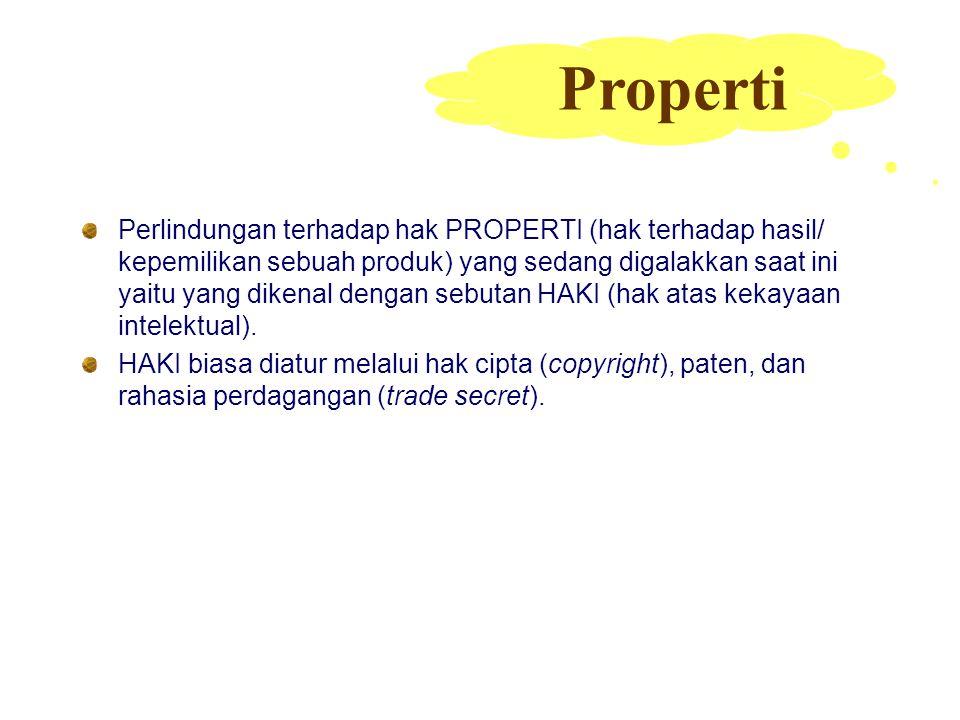 Perlindungan terhadap hak PROPERTI (hak terhadap hasil/ kepemilikan sebuah produk) yang sedang digalakkan saat ini yaitu yang dikenal dengan sebutan H