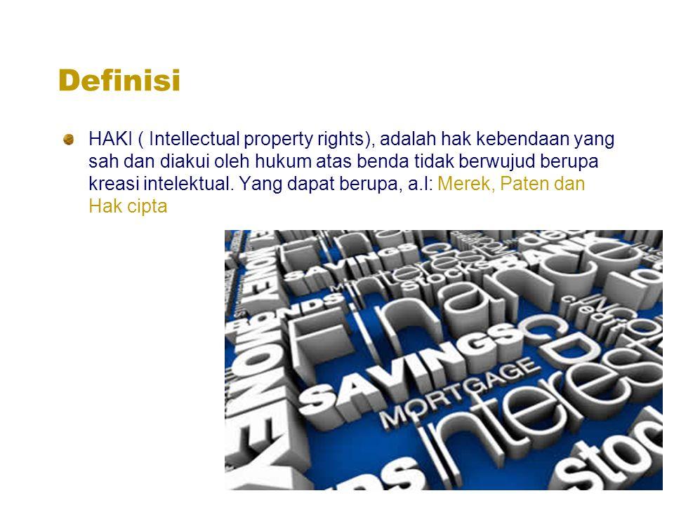 Definisi HAKI ( Intellectual property rights), adalah hak kebendaan yang sah dan diakui oleh hukum atas benda tidak berwujud berupa kreasi intelektual