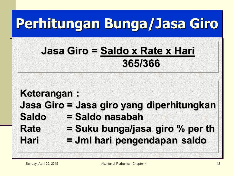 Sunday, April 05, 2015 Akuntansi Perbankan Chapter 412 Perhitungan Bunga/Jasa Giro Jasa Giro = Saldo x Rate x Hari 365/366 365/366 Keterangan : Jasa G