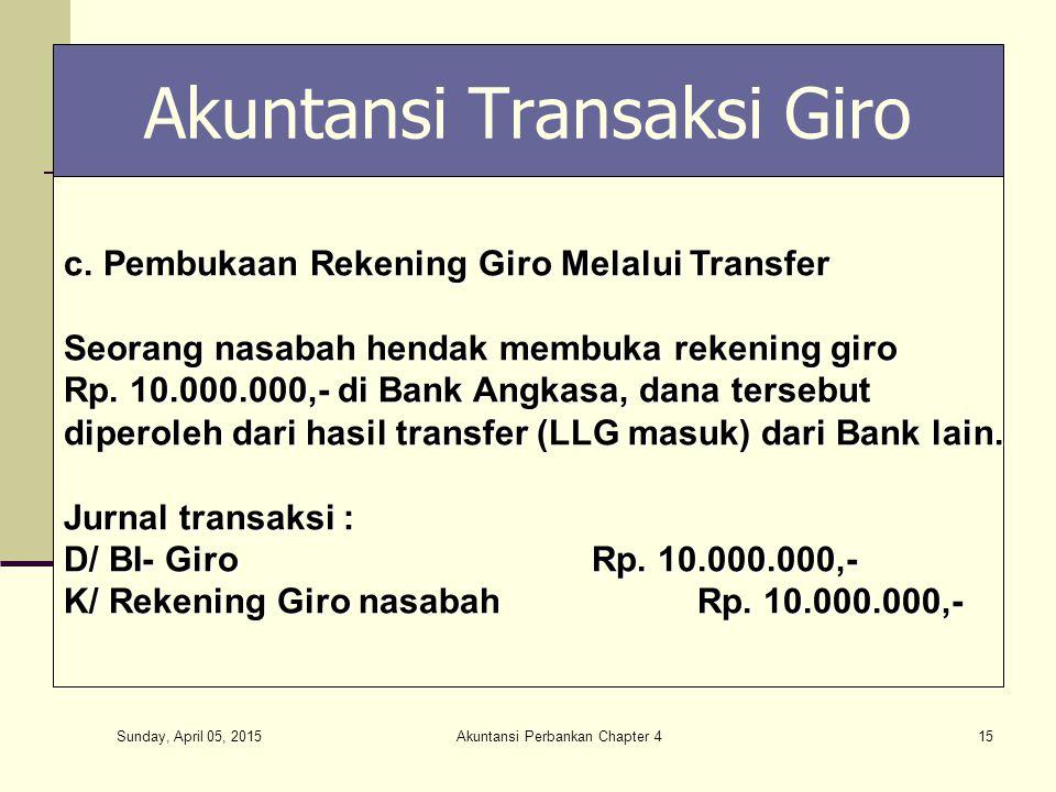Sunday, April 05, 2015 Akuntansi Perbankan Chapter 415 Akuntansi Transaksi Giro c.Pembukaan Rekening Giro Melalui Transfer Seorang nasabah hendak memb