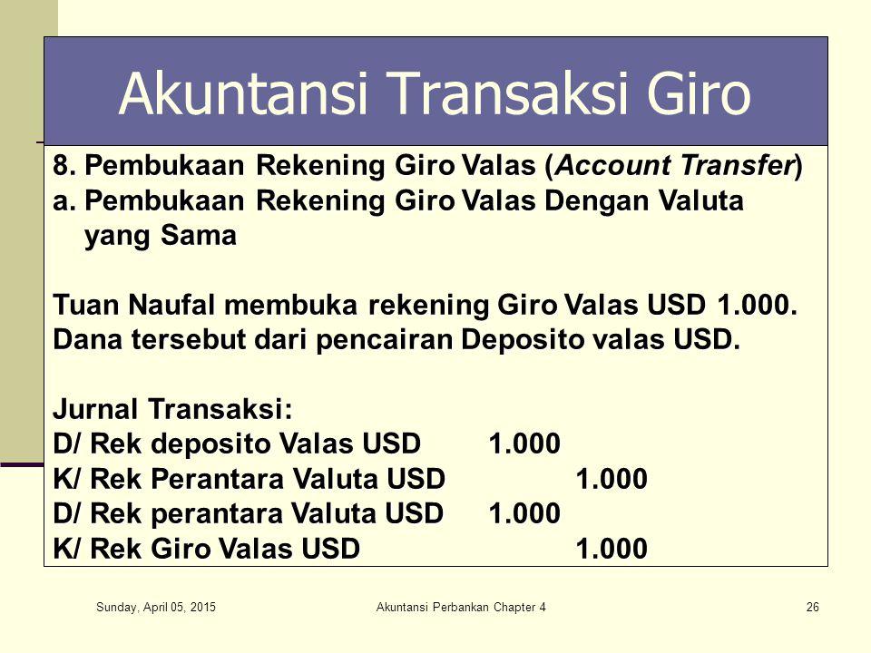 Sunday, April 05, 2015 Akuntansi Perbankan Chapter 426 Akuntansi Transaksi Giro 8. Pembukaan Rekening Giro Valas (Account Transfer) a. Pembukaan Reken