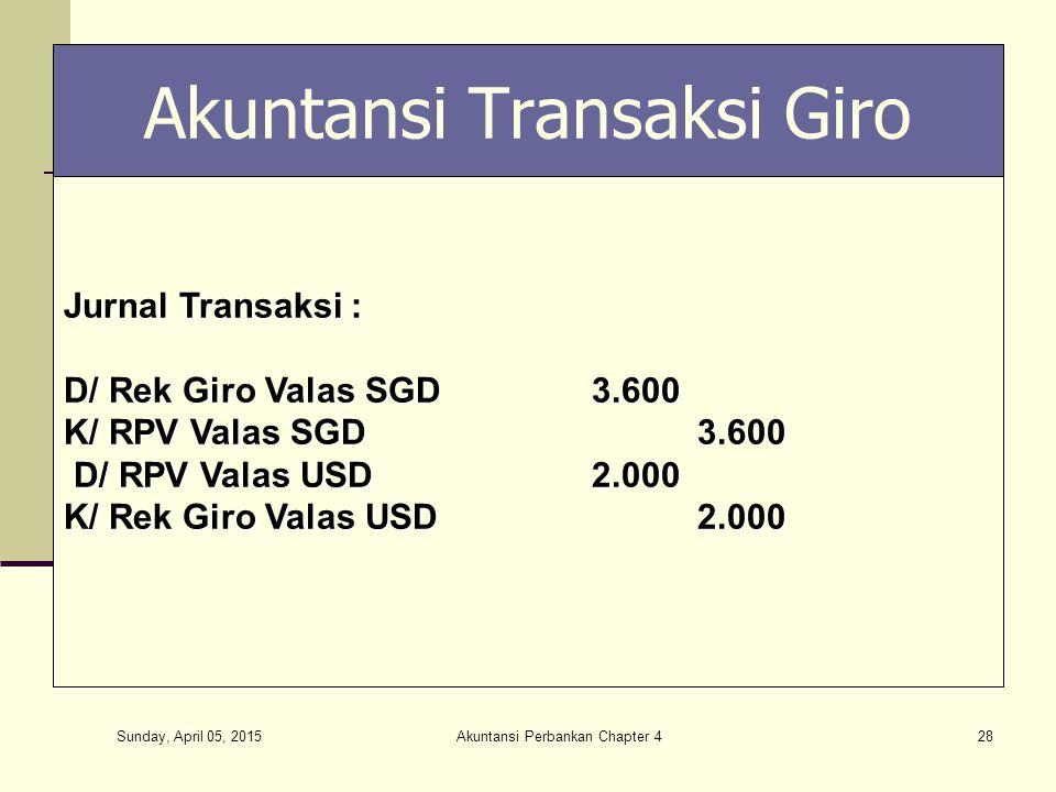 Sunday, April 05, 2015 Akuntansi Perbankan Chapter 428 Akuntansi Transaksi Giro Jurnal Transaksi : D/ Rek Giro Valas SGD3.600 K/ RPV Valas SGD3.600 D/