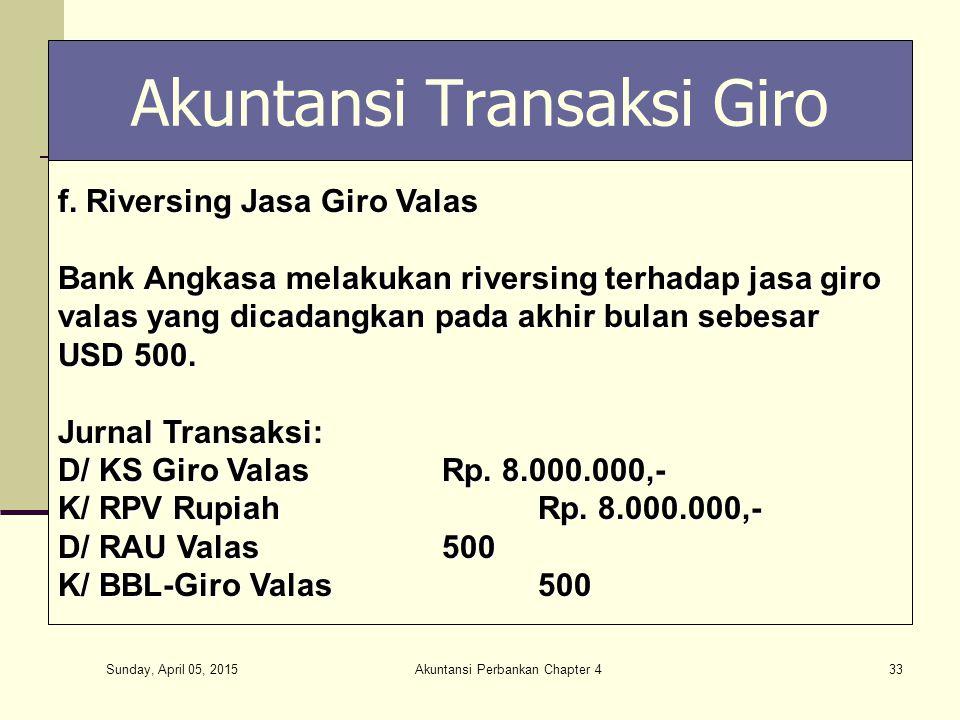 Sunday, April 05, 2015 Akuntansi Perbankan Chapter 433 Akuntansi Transaksi Giro f. Riversing Jasa Giro Valas Bank Angkasa melakukan riversing terhadap