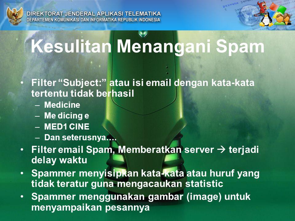 Kesulitan Menangani Spam Filter Subject: atau isi email dengan kata-kata tertentu tidak berhasil –Medicine –Me dicing e –MED1 CINE –Dan seterusnya….