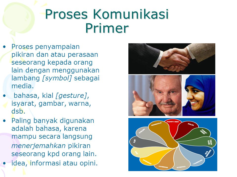 Proses Komunikasi Primer Proses penyampaian pikiran dan atau perasaan seseorang kepada orang lain dengan menggunakan lambang [symbol] sebagai media. b