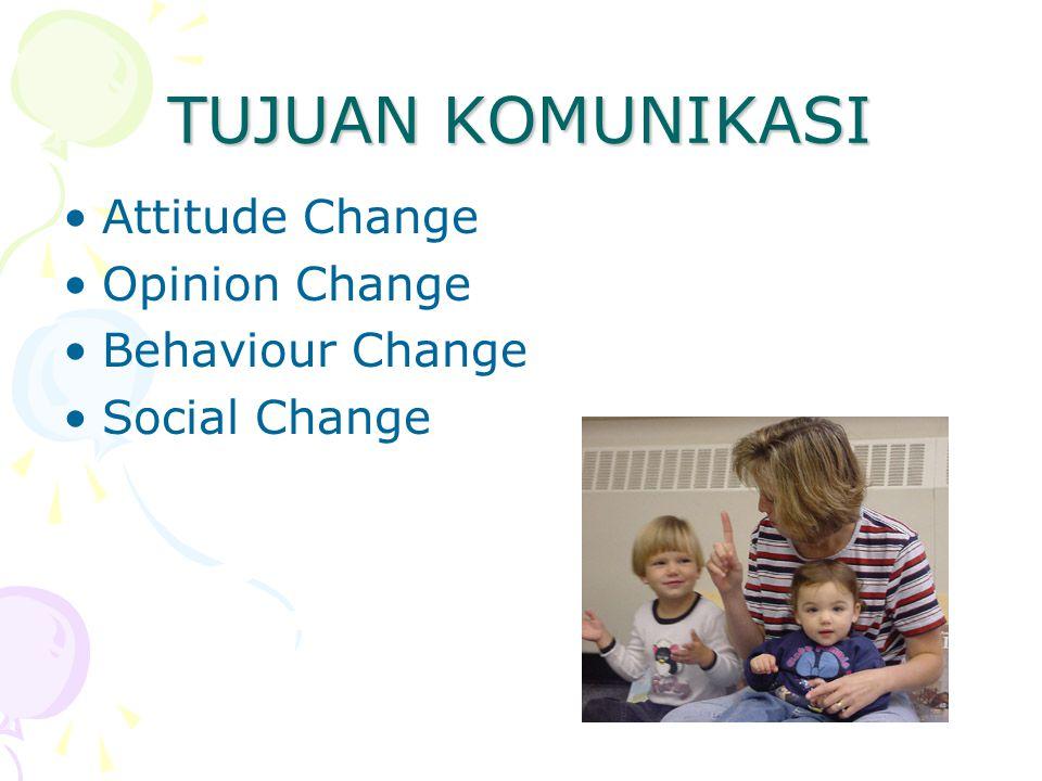 TUJUAN KOMUNIKASI Attitude Change Opinion Change Behaviour Change Social Change