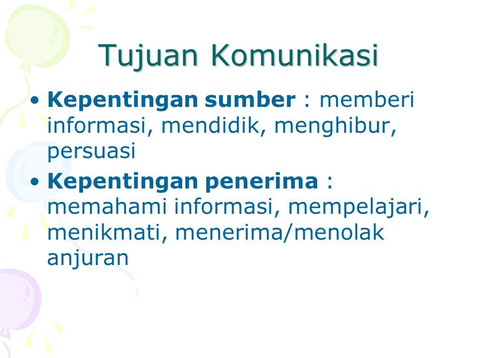 Tujuan Komunikasi Kepentingan sumber : memberi informasi, mendidik, menghibur, persuasi Kepentingan penerima : memahami informasi, mempelajari, menikm