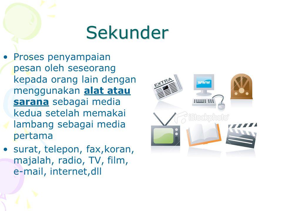 Sekunder Proses penyampaian pesan oleh seseorang kepada orang lain dengan menggunakan alat atau sarana sebagai media kedua setelah memakai lambang seb