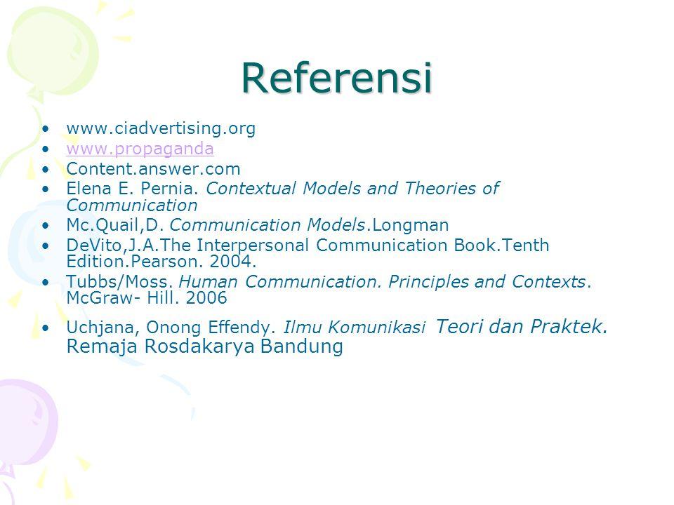 Referensi www.ciadvertising.org www.propaganda Content.answer.com Elena E. Pernia. Contextual Models and Theories of Communication Mc.Quail,D. Communi