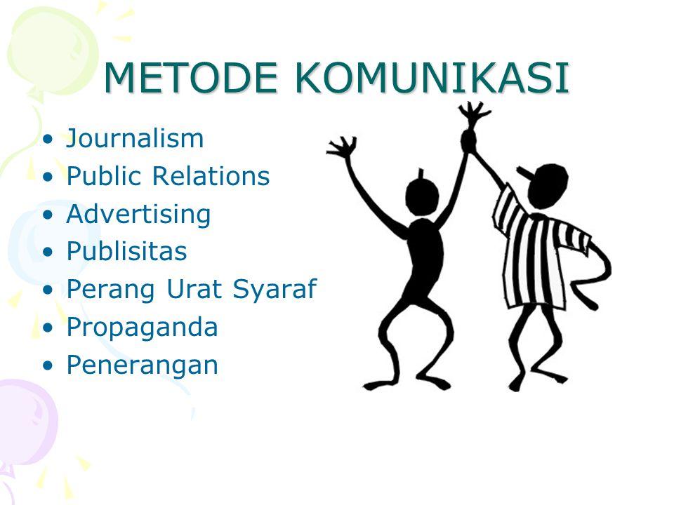 METODE KOMUNIKASI Journalism Public Relations Advertising Publisitas Perang Urat Syaraf Propaganda Penerangan