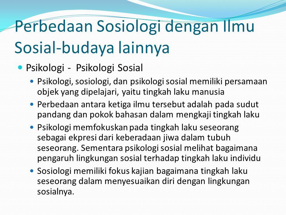 Perbedaan Sosiologi dengan Ilmu Sosial-budaya lainnya Psikologi - Psikologi Sosial Psikologi, sosiologi, dan psikologi sosial memiliki persamaan objek