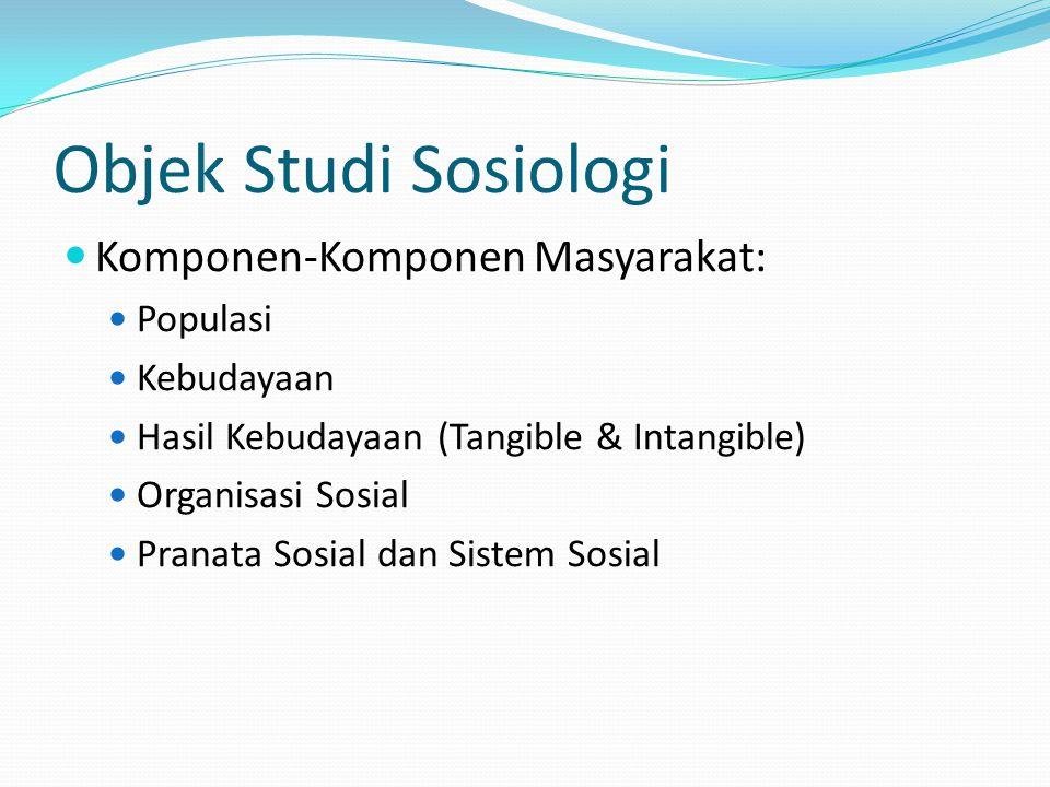 Objek Studi Sosiologi Komponen-Komponen Masyarakat: Populasi Kebudayaan Hasil Kebudayaan (Tangible & Intangible) Organisasi Sosial Pranata Sosial dan