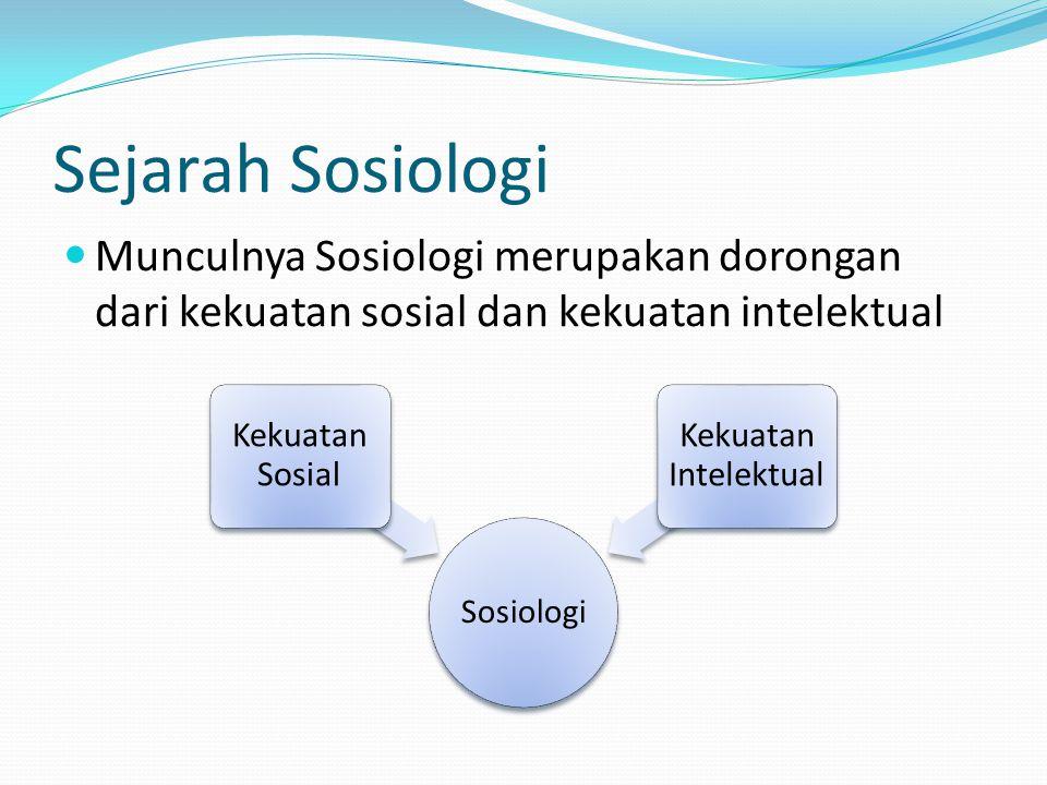 Sejarah Sosiologi Munculnya Sosiologi merupakan dorongan dari kekuatan sosial dan kekuatan intelektual Sosiologi Kekuatan Sosial Kekuatan Intelektual