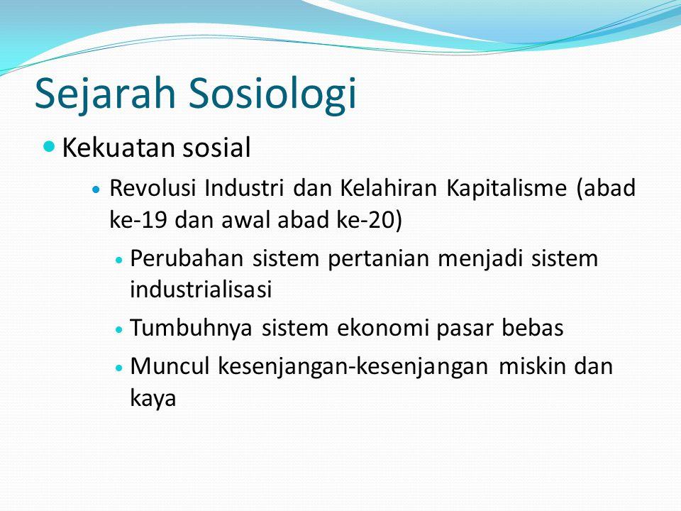 Sejarah Sosiologi Kekuatan sosial Revolusi Industri dan Kelahiran Kapitalisme (abad ke-19 dan awal abad ke-20) Perubahan sistem pertanian menjadi sist