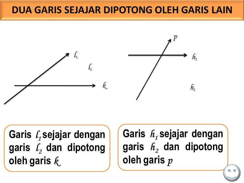 l 1 l2l2 k Garis l 1 sejajar dengan garis l 2 dan dipotong oleh garis k Garis h 1 sejajar dengan garis h 2 dan dipotong oleh garis p h1h1 h2h2 p DUA G