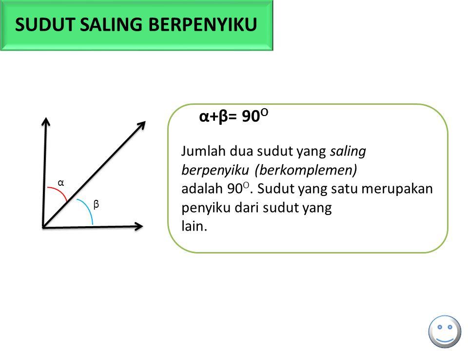β α α+β= 90 O Jumlah dua sudut yang saling berpenyiku (berkomplemen) adalah 90 O. Sudut yang satu merupakan penyiku dari sudut yang lain. SUDUT SALING