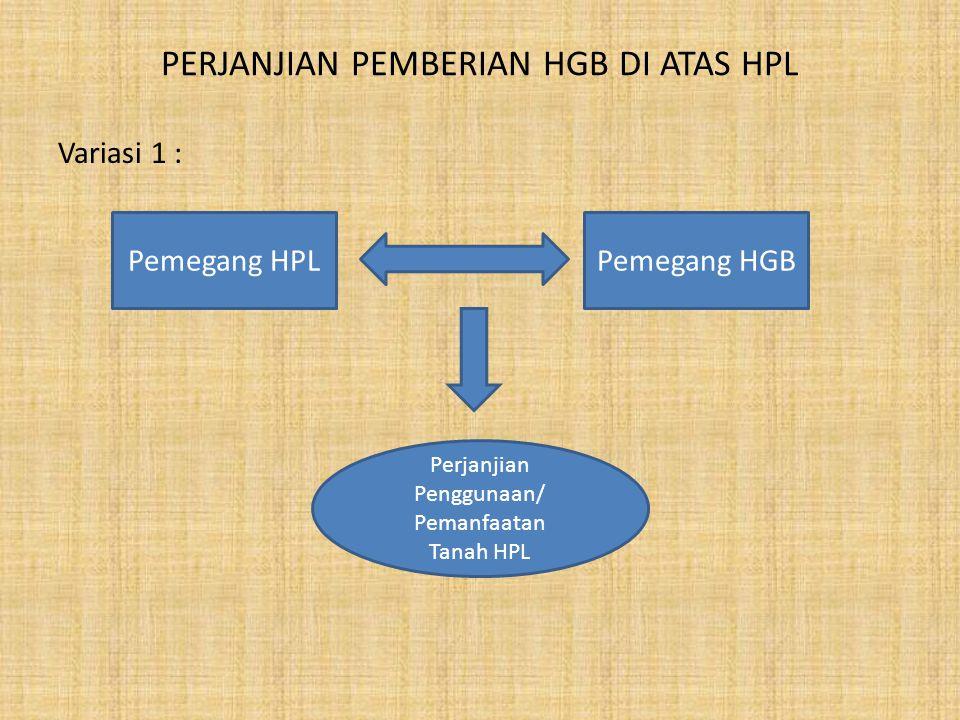 PERJANJIAN PEMBERIAN HGB DI ATAS HPL Variasi 2 : Pemegang HPL End user/ Pemegang HGB Pengelola/ Developer/ Pemegang HGB Perjanjian Kerjasama Pemanfaatan Tanah Perjanjian penyerahan pemanfaatan tanah dan bangunan