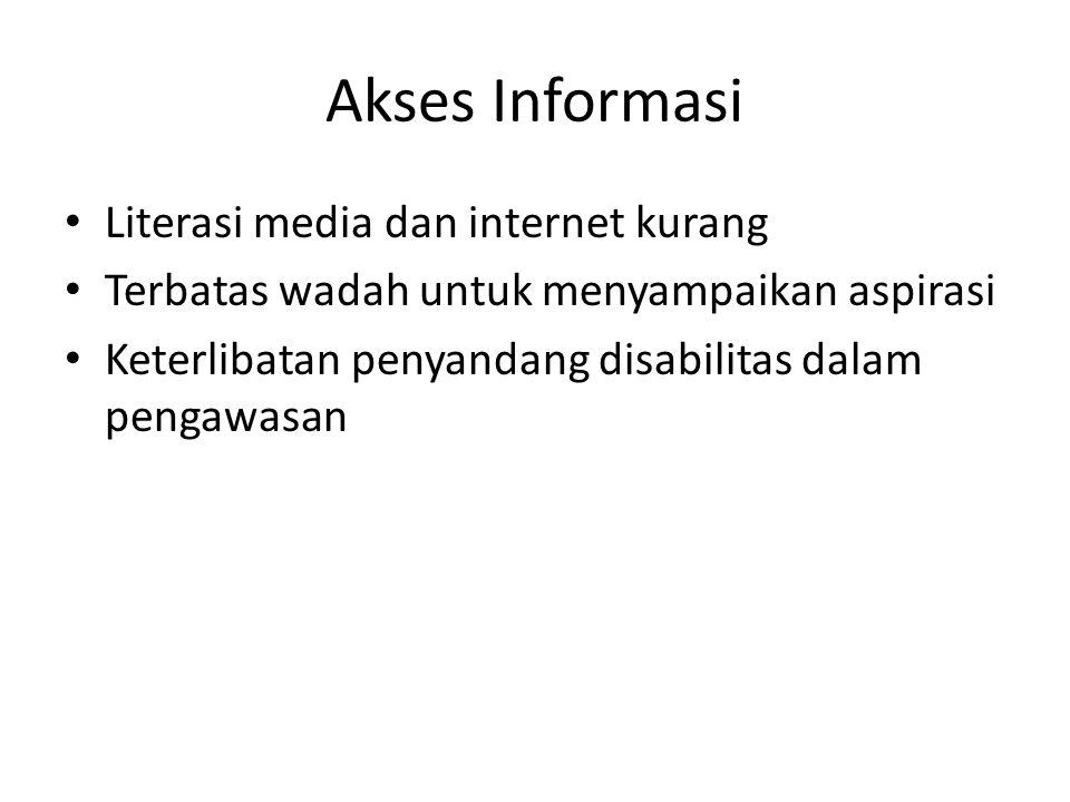 Akses Informasi Literasi media dan internet kurang Terbatas wadah untuk menyampaikan aspirasi Keterlibatan penyandang disabilitas dalam pengawasan